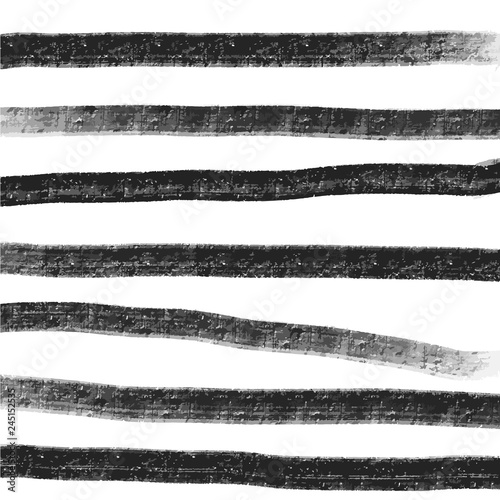 Fotografia  Simple hand drawn black and white pattern with stripes