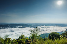 Beautiful Mountains Range With Mist In The Morning At Sri Nan National Park Or Doi Sa Mer Dao ,tourist Attraction At Nan Province In Thailand