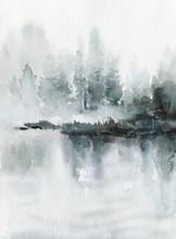 Neo-noir Landscape. Blue River...