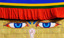 Buddhist Temple With Painted Eyes. Buddha Eyes On Stupa Of The Nepal Temple