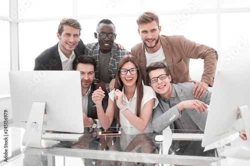 portrait of a successful business team in the workplace Canvas Print