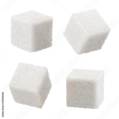 Fototapeta  Set of white sugar cubes, isolated on white background