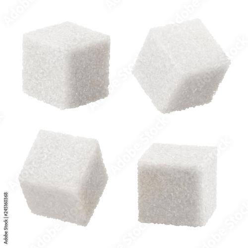 Set of white sugar cubes, isolated on white background Fototapeta