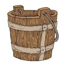 Illustration Of Wooden Bucket On White Background