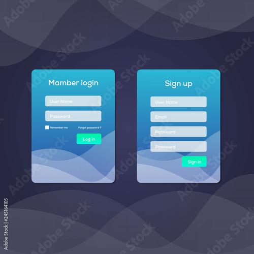 Mobile UI kit  Sign up form, Login form for app development  Vector
