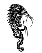 Native American Woman Wearing Chief Feathered Headdress - Black And White Vector Portrait