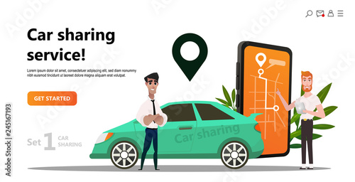 Car Sharing Concept Business Man With Smartphone And Rent Car