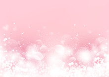Abstract, Valentines Day, Pink Blurry With Scatter Rose Petal And Heart, Bokeh Blinking Romantic Background Seasonal Holiday Vector Illustration