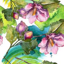 Red Purple Camelia Floral Botanical Flower. Watercolor Illustration Set. Seamless Background Pattern.