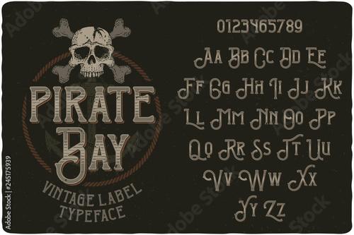 Fototapeta Vintage label typeface named Pirate Bay