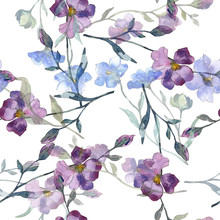Blue Purple Flax Floral Botanical Flower. Watercolor Background Illustration Set. Seamless Background Pattern.