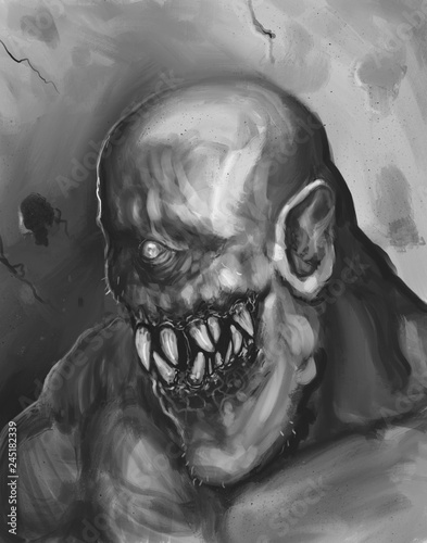 Photo Scary fantasy cyclops with bad teeth - digital fantasy portrait painting