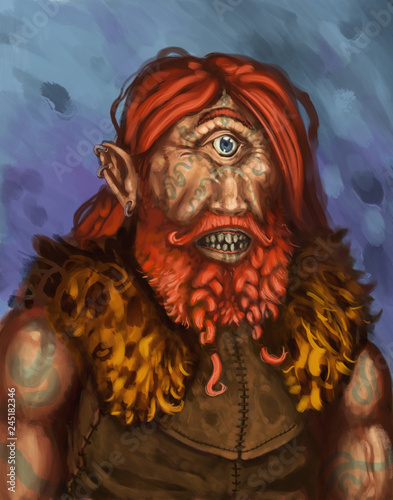 Primitive tribal red haired cyclops character portrait - digital fantasy paintin Canvas Print