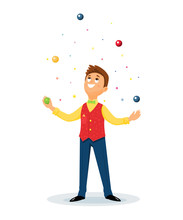 Cartoon Juggler Performs A Cir...