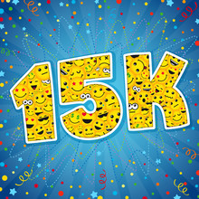 Thank You 15K Logotype. Congratulating Bright 15.000 Networking Thanks, Net Friends Abstract New Image, 15000k Cute Sign, People Digits. Isolated Smiling Years Old, Lol Symbol. Graphic Design Template