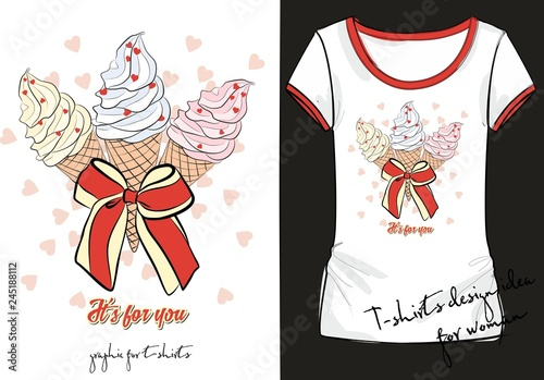 Trendy Sketch Womans Shirt With Color Print With Three Ice Cream Decorated With A Striped Bow,Small Rectangular Kitchen Design With Island