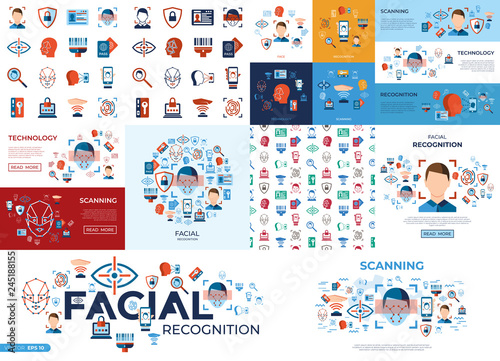 Photo  Digital vector facial recognition icons set