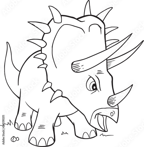 Spoed Fotobehang Cartoon draw Triceratops Dinosaur Coloring Page Vector Illustration Art