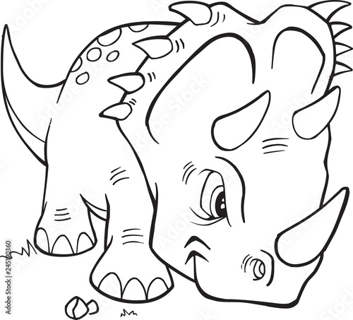 Spoed Foto op Canvas Cartoon draw Triceratops Dinosaur Coloring Page Vector Illustration Art
