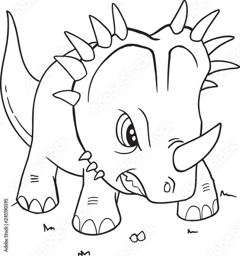 Spoed Foto op Canvas Cartoon draw Styracosaurus Dinosaur Coloring Page Vector Illustration Art