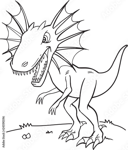Spoed Fotobehang Cartoon draw Tough Dinosaur Vector Illustration Art