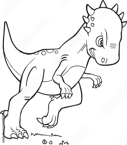 Tuinposter Cartoon draw Pachycephalosaurus Dinosaur Vector Coloring Page Illustration Art