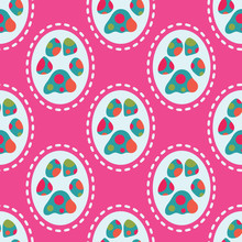 Fun And Colorful, Real Dog Paw Print Seamless Pattern. Multicolor Polka Dots And Dashed Lines Give A Great Look For Dog Parties And Pet Businesses. For Paper Items, Gift Bags, Textiles, Decor. Vector.