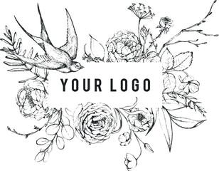 Vektorska grafička cvjetna ilustracija - crno-bijeli mastiljeni okvir cvijeća / obruba / zaglavlja s pticom lastavicom za vjenčanje u miru, čestitke, pozadine, moda, logotip, itd.