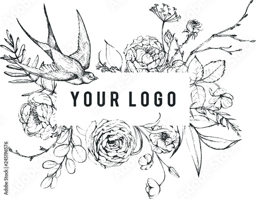 Fotografia  Vector Graphic floral illustration - black & white inked flowers frame / border / header with swallow bird for wedding stationary, greetings, wallpapers, fashion, logo, etc