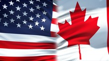 United States And Canada Flags...