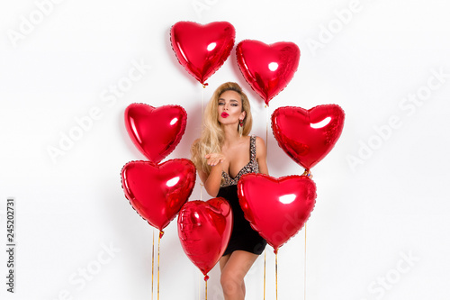 Платно Valentine Beauty girl with red balloon holding hands, isolated on background