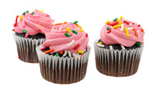 Three Pink Frosted Chocolate C...