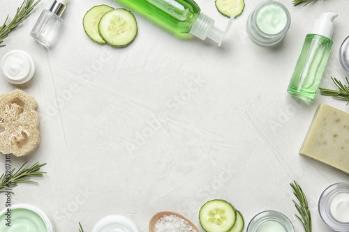 Fototapeta Flat lay composition with body care products and space for text on light background obraz