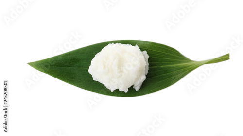 Leaf with shea butter isolated on white, top view