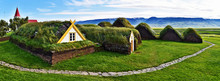 Panoramic View At Traditional Icelandic Farm  Glaumbaer Composed Of Turf Houses In Northern Iceland.