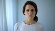 Woman Suffering Drug Addiction Sadly Looking At Camera, Rehabilitation Center