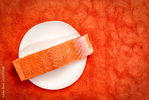 raw, wild king salmon fillet