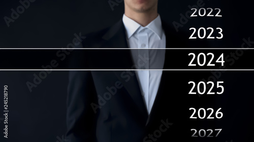 2024 year in virtual archive, businessman on background