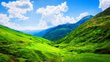 Vibrant Mountain Landscape On Sunny Summer Day
