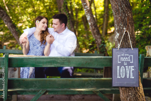 """Photo  """"All you need is love"""" sign on the tree in the park with romantic couple sitting"""