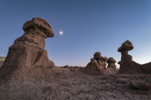 Scenic View Of Rock Formations Against Clear Blue Sky At Canyonlands National Park
