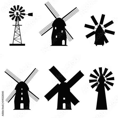 Obraz windmill icon old and retro object - fototapety do salonu