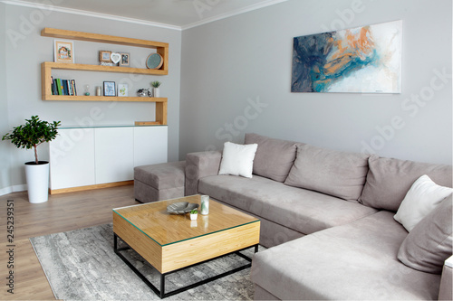 Fotografía  Grey corner couch with three pillows standing in bright living room interior with painting and carpet