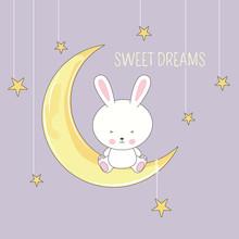 Cute Sleeping Rabbit Sitting In Moon. Sweet Dreams Design Element.