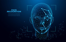 Facial Recognition System Concept. Face Recognition. 3D Scanning. Face ID. Vector Wireframe Concept. Polygon Vector Design. Biometric Scanning
