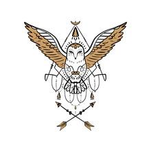 Owl Tattoo Outline. Boho Triba...