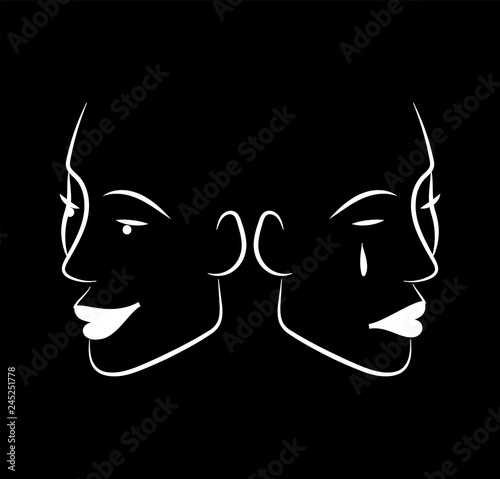 Fotografie, Tablou  Vector image of a funny and sad face on black background