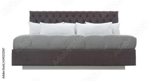 Cuadros en Lienzo Comfortable bed on white background. Idea for interior design