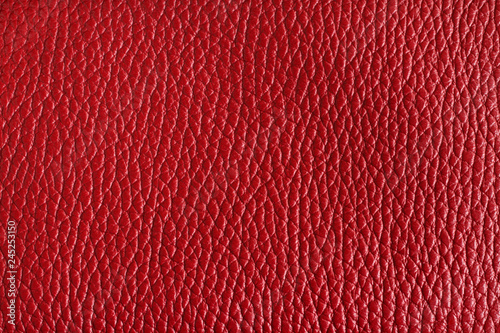 Claret red colored cow leather texture. Closeup - 245253150