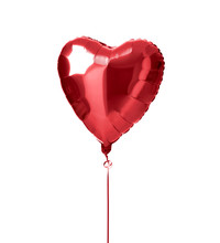 Metallic Red Heart Balloon Object For Birthday Party Or Valentines Day Isolated On A White